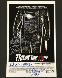 1980 Friday the 13th JASON cast signed 11x17 movie poster photo Beckett BAS COA
