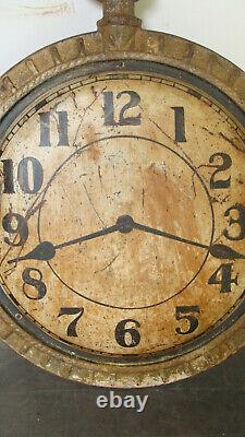 19th C cast iron & zinc clock trade sign, orig. Painted surface