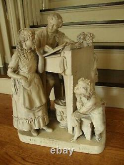 19th Century Cast Plaster Sculpture The Favored Scholar By John Rogers-signed