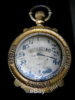 19th Century Large Cast Iron Jewelry and Watch Repairing Double Sided Sign