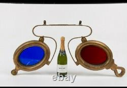 ANTIQUE OPTICIAN'S SPECTACLES HANGING Cast iron/zinc TRADE SIGN plus Wood Sign