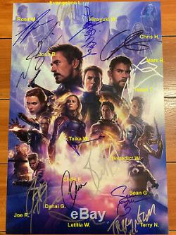 AVENGERS ENDGAME SIGNED 12X18 MOVIE POSTER BY 16 CAST MEMBERS with BECKETT BAS COA