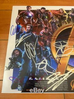 AVENGERS INFINITY WAR SIGNED 12X18 MOVIE POSTER BY 18 CAST with BECKETT BAS COA