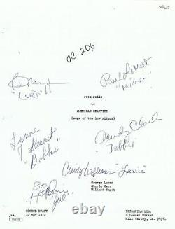 American Graffiti Cast Signed Autographed Screen Play Cover Le Mat Dreyfuss JSA