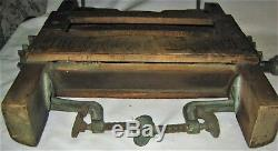 Antique Country Primitive Horseshoe Wood Cast Iron Hardware Wash Clothes Wringer