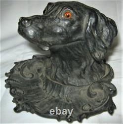 Antique Sign 1870 Victorian Cast Iron Dog Bust Head Pen Tray Inkwell Glass Eyes