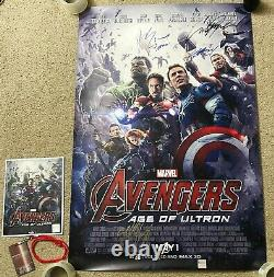 Avengers Age of Ultron Movie Poster CAST SIGNED Premiere Poster withBadge & COA