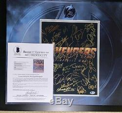 Avengers Cast 11x14 Photo Signed Framed x32 Robert Downey Chadwick Boseman BAS