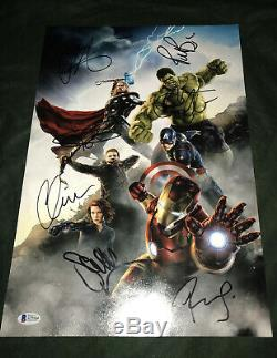 Avengers signed poster 12x18 photo BAS Endgame Downey Scarlett Johansson cast