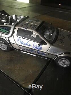 BACK TO THE FUTURE CAST SIGNED DELOREAN X5 FOX LLOYD Diamond Select Autograph