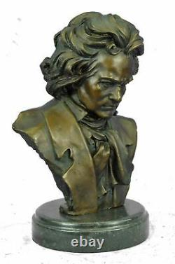 BEETHOVEN 100% Pure Bronze Cast Stone Milo Original Signed Bust Sculpture 12'