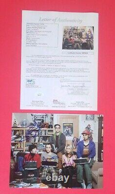 BIG BANG THEORY COMPLETE CAST X5 SIGNED 8X10 PHOTO WITH JSA COA Kaley Cuoco +4