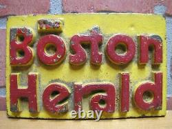 BOSTON HERALD Old Newspaper Stand Cast Iron Advertising Paperweight Sign Weight