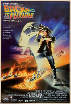Back to Future Cast Signed by 3 Movie Poster Autographed 27x40 Michael J Fox PSA