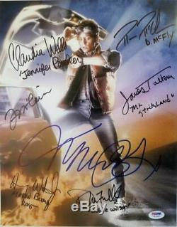 Back to the Future Cast (7) Signed Michael J Fox Autographed 11x14 Photo PSA