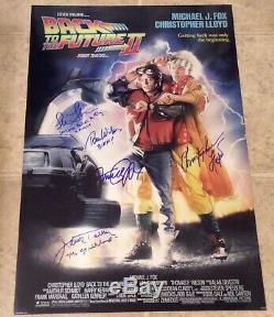 Back to the Future II Cast Signed 16x24 Photo Michael J Fox Lloyd Thompson Biff