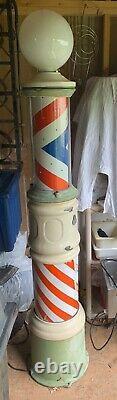 Barber Pole Antique Vintage Standing Cast Iron 7ft Lighted Spinning Koken