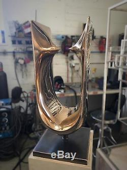 Beautiful Original Fine Art Abstract Cast Bronze Sculpture With Polished Finish