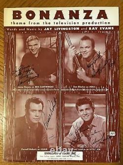 Bonanza Cast Autograph Signed Sheet Music Dan Blocker M Landon L Greene Roberts