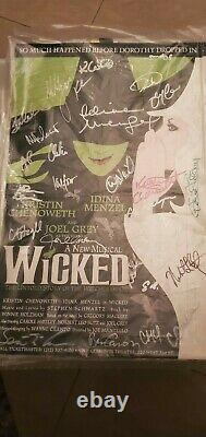 Broadway's Wicked Original Cast SIGNED Poster Idina Menzel Kristin Chenoweth