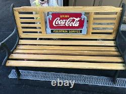 COCA COLA FOUNTAIN SERVICE CAST IRON BENCH withSIGN, Oak Slates LOCAL PICKUP ONLY