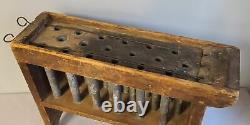 Candle Mold, Rack, 18 Pewter Molds, Wood Frame Maker Signed, Wick Rods, American