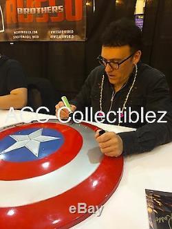Captain America cast Evans Renner etc signed large metal shield EXACT PROOF COA