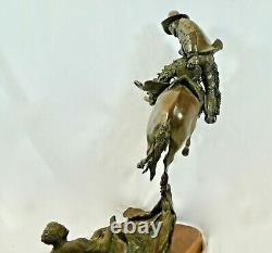 Cast Bronze Sculpture THE RUDE AWAKENING by H. CLAY DAHLBERG. Signed. 16/25 1982