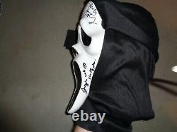 Cast Signed x7 Wes Craven's Scream Ghostface Mask Arquette, Campbell, Rose