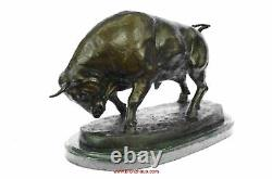 Charging Bull Bronze Statue Sculpture Lost Wax Casting Marble Base Moigniez 11