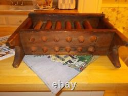 Circa 1830 Twelve Tube Redware Candle Mold In Red Painted Wood Stand Signed Tube