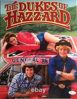 Dukes Of Hazard Cast Triple Autographed 11x14 Schneider, Wopat, & Bach withJSA COA