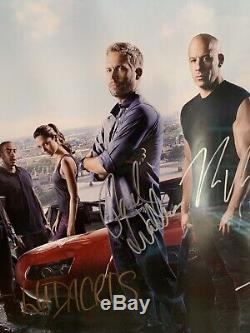 Fast and Furios 6 Movie Poster Full Cast Autograph with COA Paul Walker Signed