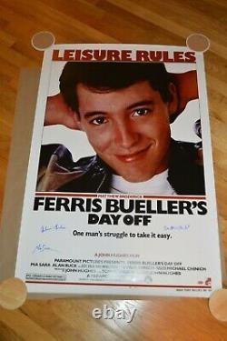 Ferris Bueller's Day Off Cast Autographed Movie Poster 27x40 Schwartz COA