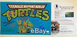 Framed Teenage Mutant Ninja Turtles TMNT Cast Signed X6 11x17 Poster Beckett LOA