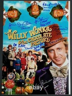 Gene Wilder + Willy Wonka 8 autos cast signed 12x17 Photo Beckett BAS LOA COA