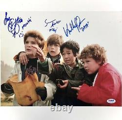 Goonies autograph Sean Astin, Ke Quan, Feldman cast signed 11x14 photo PSA COA