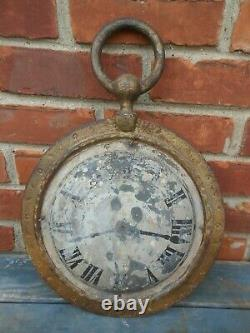 Great small Antique Pocket Watch Jewelers Trade Sign Cast Iron And Tin