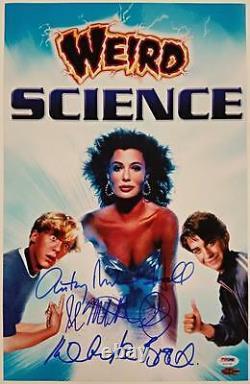 Kelly Lebrock/Hall/Mitchell-Smith cast signed Weird Science 11x17 Photo PSA COA
