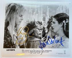 LABYRINTH 8x10 photo cast signed by Jennifer Connelly & David Bowie classic 80s