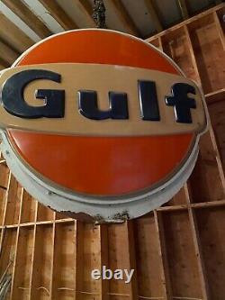 Large Vintage Illuminated 2 sided Gulf Sign, Cast Iron Frame painted white