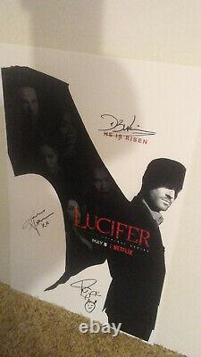 Lucifer Autographed By Cast Netflix Tom Ellis, D. B. Woodside, Lauren + C. O. A
