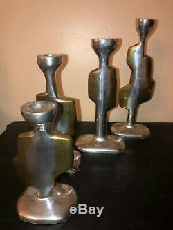 Magnificent Signed Brutalist Asymmetrical Cast Aluminum Set (4)Candlesticks 1960