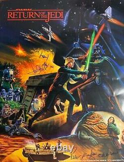 Mark Hamill Baker Mayhew Cast Signed Star Wars Coke Limited Poster Beckett BAS