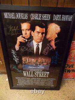 Movie Poster Wall Street Full Cast Autographed CoA Sheen Douglas Hannah Framed