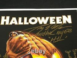 NICK CASTLE TONY MORAN PJ SOLES +++ HALLOWEEN CAST 6X Signed 11x17 Movie Poster