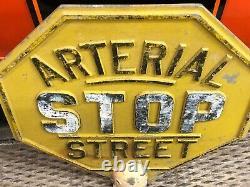 ORIGINAL Vintage Retired STOP ARTERIAL STREET Road Sign OLD PATINA CAST ALUMINUM