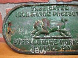 Old BUFFALO WIRE WORKS Co NY Cast Iron Nameplate Equipment Machinery Sign