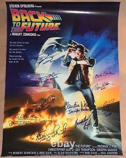 RARE! Back to the Future Cast Signed Poster X11! Michael J Fox +10! ACOA PROOF
