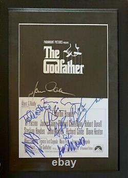 RARE! The Godfather Cast Signed Poster x8! Custom matted & Framed! ACOA COA